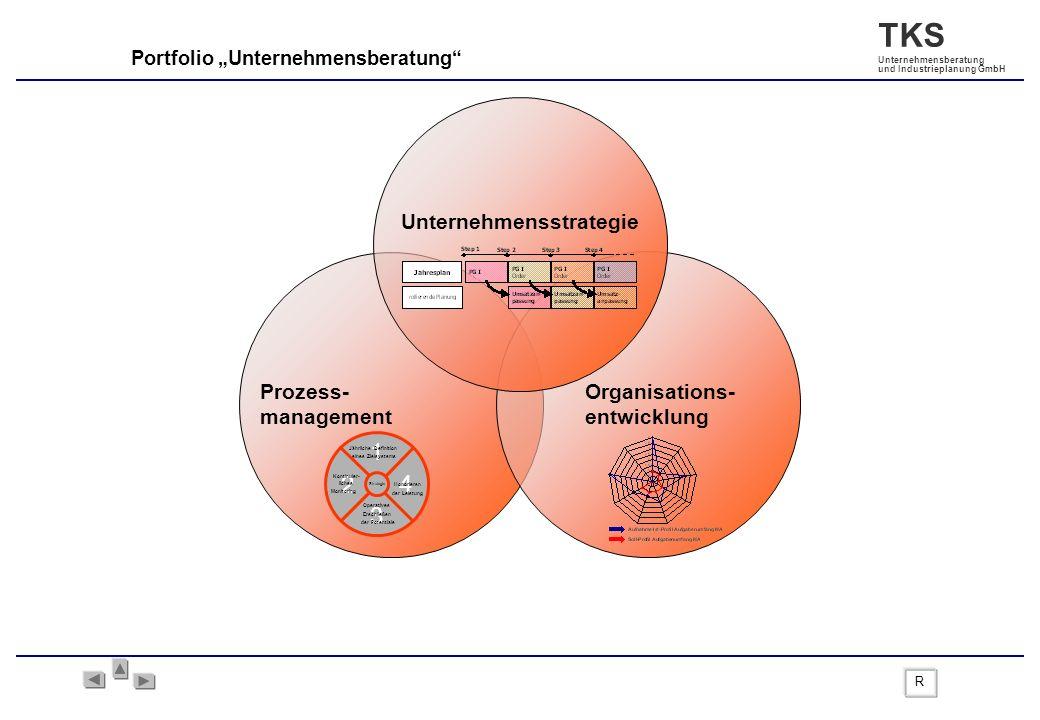 TKS Unternehmensberatung und Industrieplanung GmbH Portfolio Unternehmensberatung Organisations- entwicklung Unternehmensstrategie Prozess- management