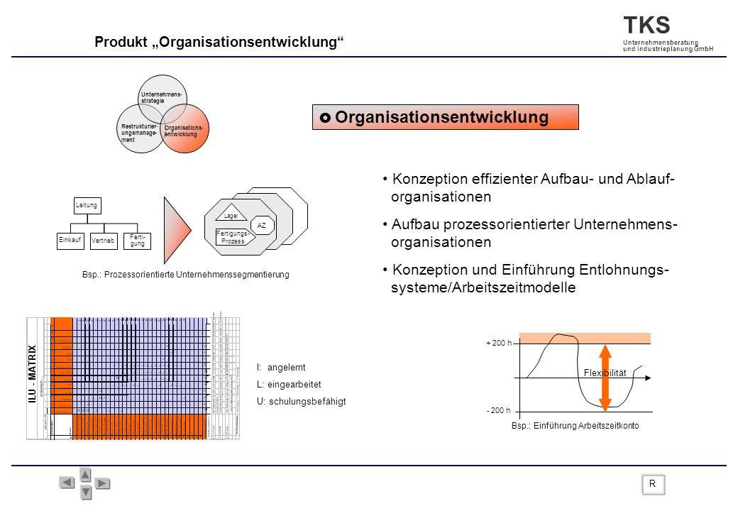 TKS Unternehmensberatung und Industrieplanung GmbH Produkt Organisationsentwicklung Organisationsentwicklung Konzeption effizienter Aufbau- und Ablauf