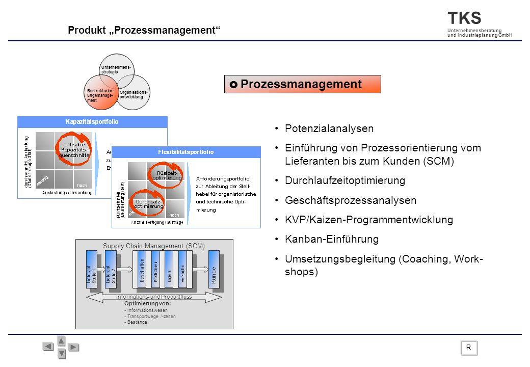 TKS Unternehmensberatung und Industrieplanung GmbH Produkt Prozessmanagement Prozessmanagement Potenzialanalysen Einführung von Prozessorientierung vo