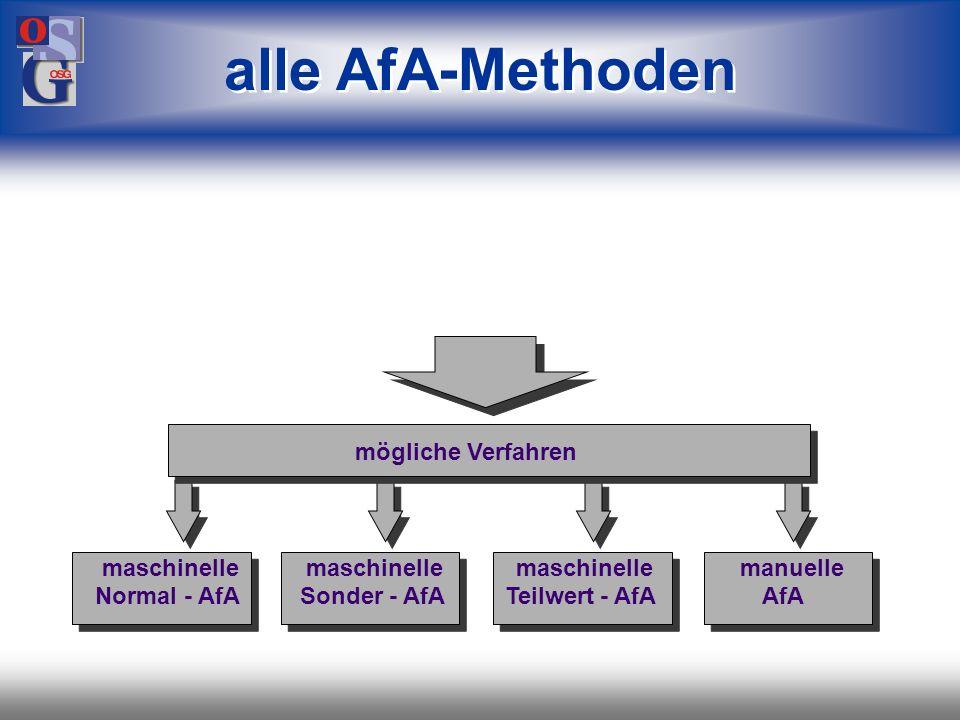 OSG 14 maschinelle Normal-AfA maschinelle Sonder-AfA maschinelle Teilwert-AfA manuelle Teilwert-AfA Anlagenspiegel Sonderposten mit Rücklagenanteil Zu