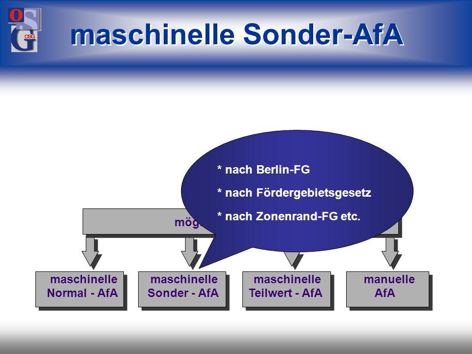 OSG 16 maschinelle Normal-AfA mögliche Verfahren maschinelle maschinelle maschinelle manuelle Normal - AfA Sonder - AfA Teilwert - AfA AfA * keine AfA