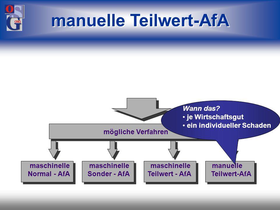OSG 18 maschinelle Teilwert-AfA mögliche Verfahren maschinelle maschinelle maschinelle manuelle Normal - AfA Sonder - AfA Teilwert - AfA AfA je Wirtsc