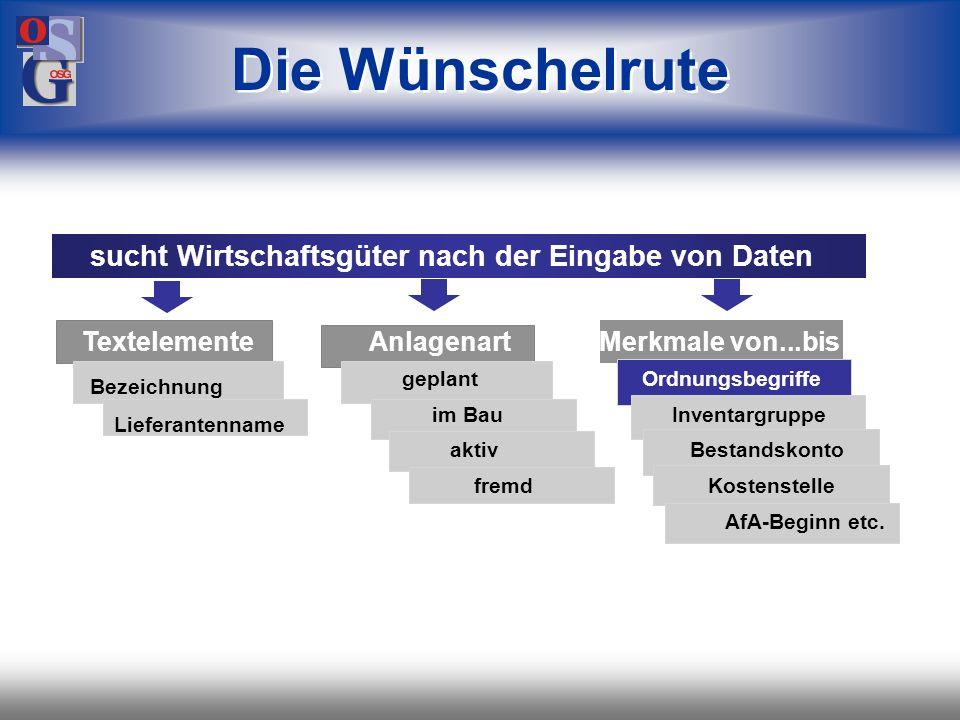 OSG 38 Stammdaten Zusatzinformationen Lebenslauf Anlagenspiegel Bewertungsvergleich Vorschaurechnung alle Listen Dialog-Anzeigen