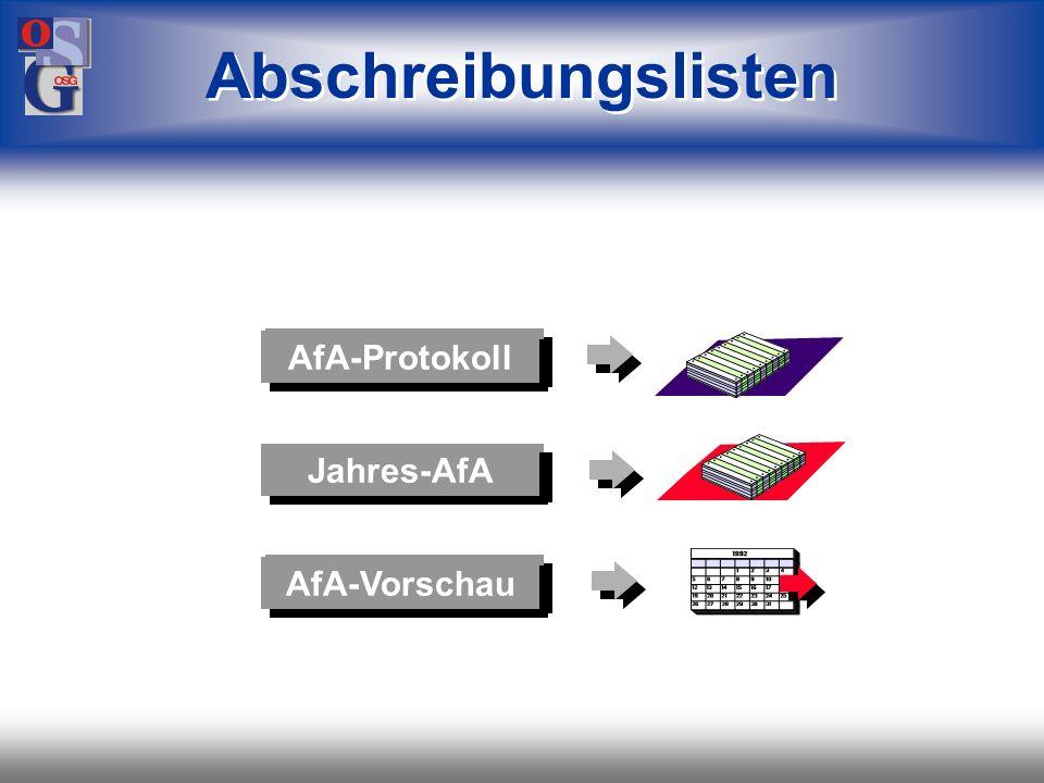 OSG 40 Stammblätter Inventarliste Anlagenspiegel Vermögensaufstellung Versicherungswerte Projektabrechnung Abschreibungslisten Buchungslisten Standard