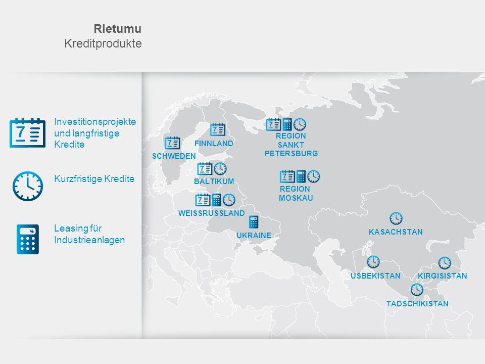 Investitionsprojekte und langfristige Kredite Kurzfristige Kredite Leasing für Industrieanlagen Rietumu Kreditprodukte FINNLAND REGION SANKT PETERSBUR
