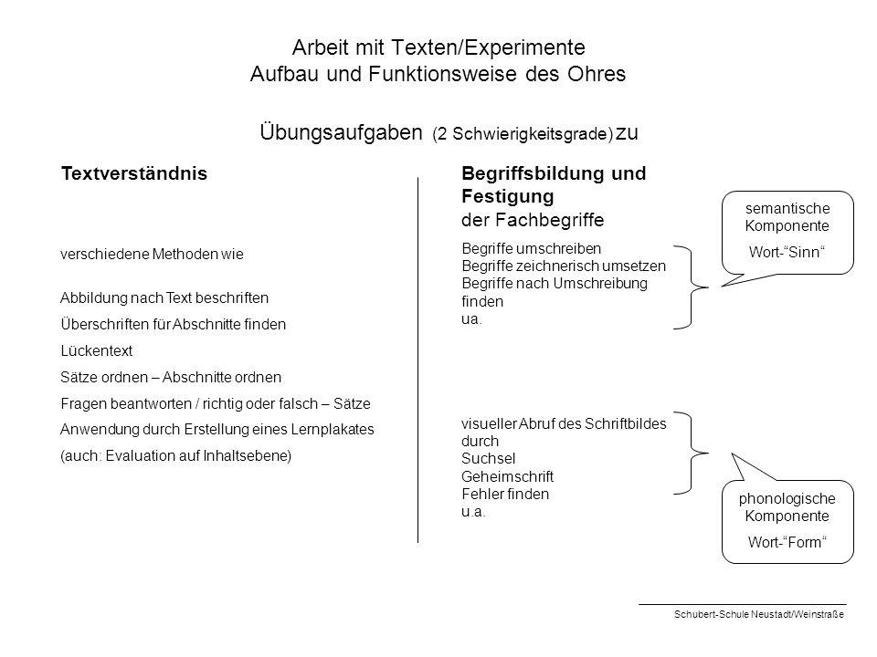 Arbeit mit Texten/Experimente Aufbau und Funktionsweise des Ohres Textverständnis verschiedene Methoden wie Abbildung nach Text beschriften Überschrif