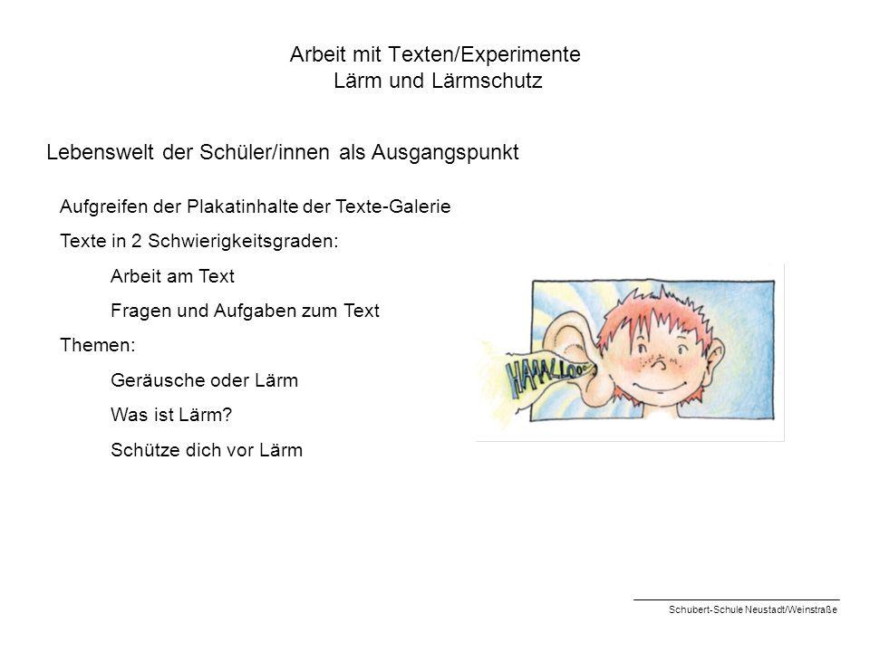 Arbeit mit Texten/Experimente Lärm und Lärmschutz Lebenswelt der Schüler/innen als Ausgangspunkt Aufgreifen der Plakatinhalte der Texte-Galerie Texte