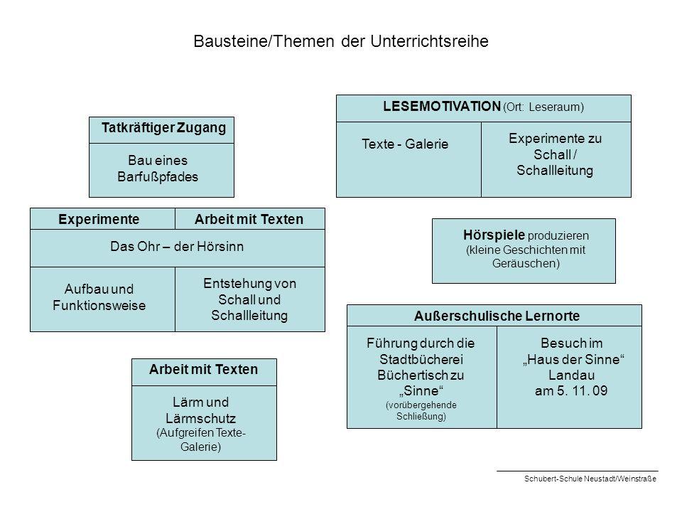 Bausteine/Themen der Unterrichtsreihe Tatkräftiger Zugang Bau eines Barfußpfades LESEMOTIVATION (Ort: Leseraum) ExperimenteArbeit mit Texten Das Ohr –