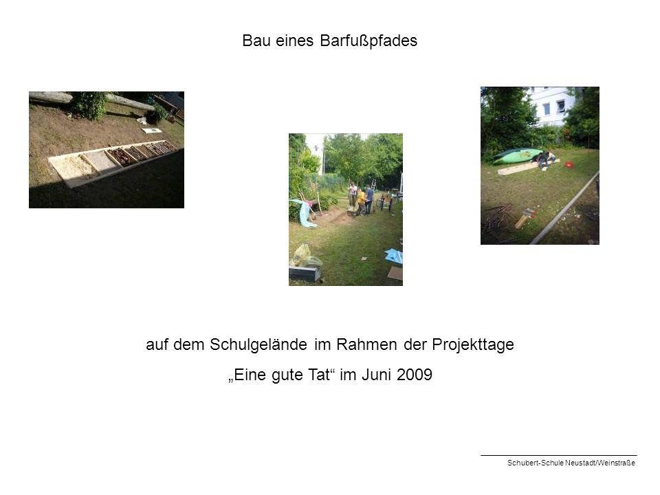 Bau eines Barfußpfades auf dem Schulgelände im Rahmen der Projekttage Eine gute Tat im Juni 2009 Schubert-Schule Neustadt/Weinstraße