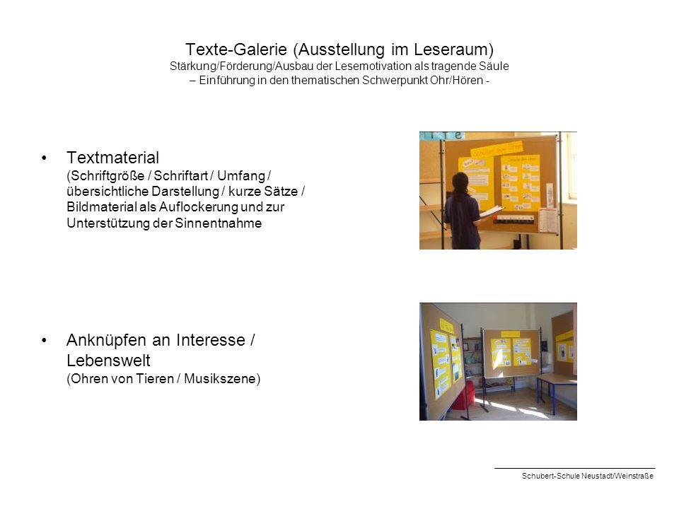Texte-Galerie (Ausstellung im Leseraum) Stärkung/Förderung/Ausbau der Lesemotivation als tragende Säule – Einführung in den thematischen Schwerpunkt O