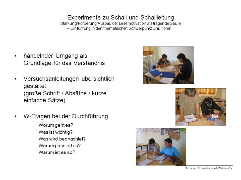 Experimente zu Schall und Schallleitung Stärkung/Förderung/Ausbau der Lesemotivation als tragende Säule – Einführung in den thematischen Schwerpunkt O