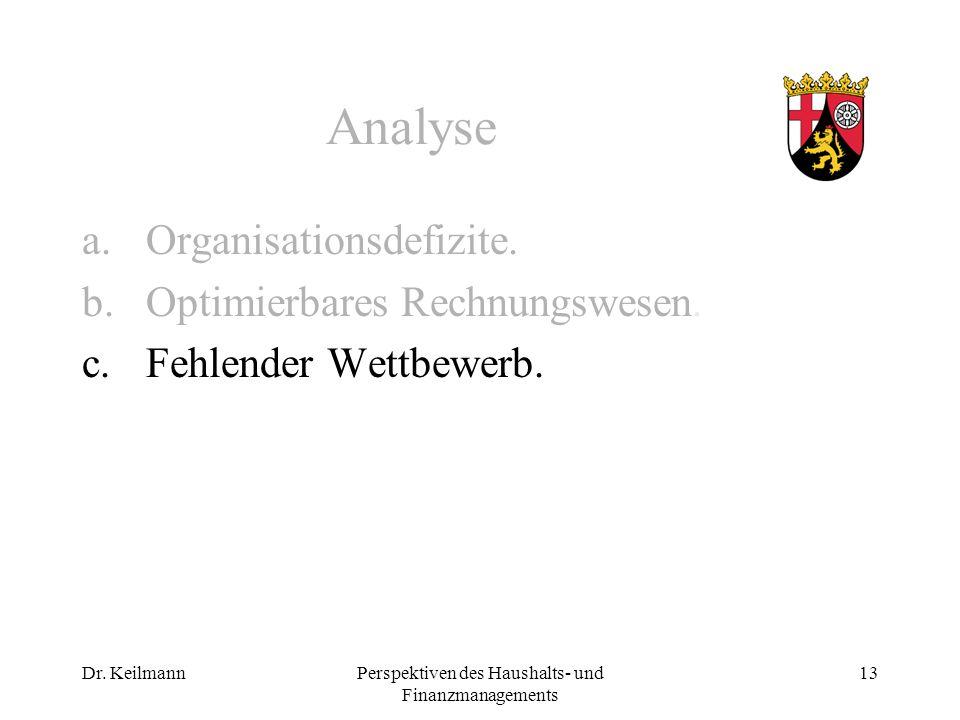 Dr. KeilmannPerspektiven des Haushalts- und Finanzmanagements 13 Analyse a.Organisationsdefizite.