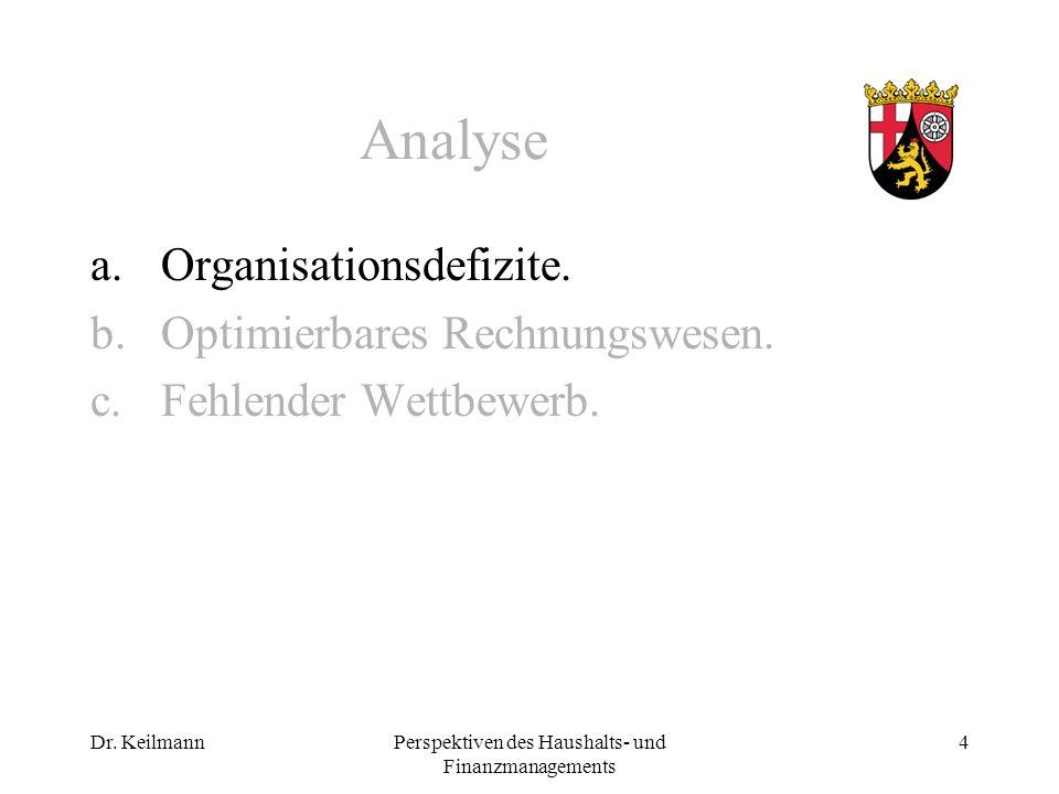 Dr. KeilmannPerspektiven des Haushalts- und Finanzmanagements 4 Analyse a.Organisationsdefizite.