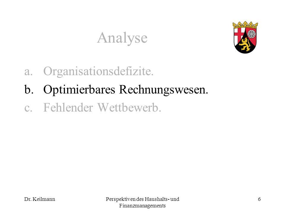 Dr. KeilmannPerspektiven des Haushalts- und Finanzmanagements 6 Analyse a.Organisationsdefizite.