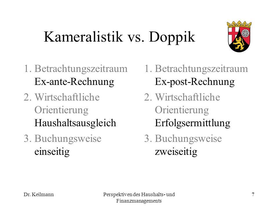 Dr. KeilmannPerspektiven des Haushalts- und Finanzmanagements 7 Kameralistik vs.