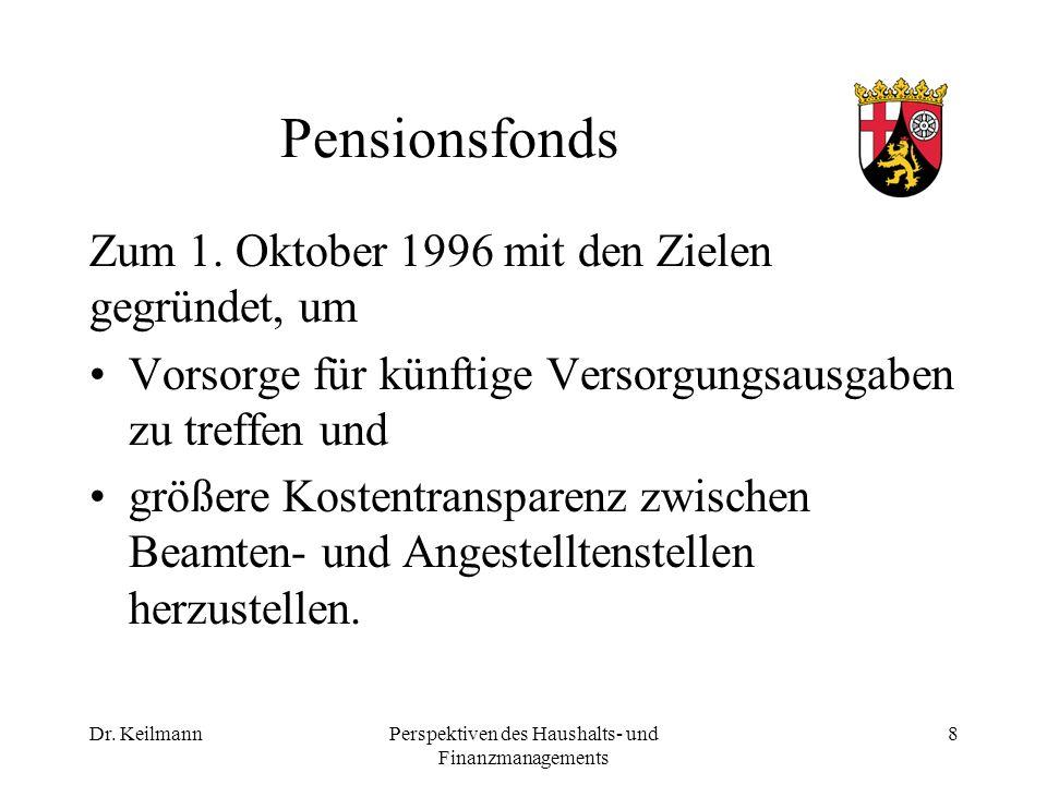Dr. KeilmannPerspektiven des Haushalts- und Finanzmanagements 8 Pensionsfonds Zum 1.