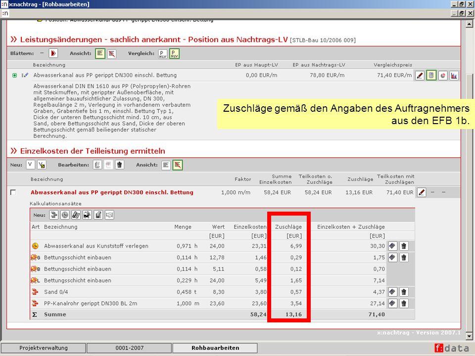 Zuschläge gemäß den Angaben des Auftragnehmers aus den EFB 1b.