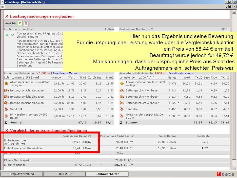 Hier nun das Ergebnis und seine Bewertung: Für die ursprüngliche Leistung wurde über die Vergleichskalkulation ein Preis von 58,44 ermittelt. Beauftra