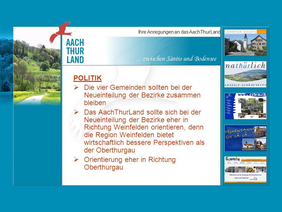 Ihre Anregungen an das AachThurLand POLITIK Die vier Gemeinden sollten bei der Neueinteilung der Bezirke zusammen bleiben Das AachThurLand sollte sich bei der Neueinteilung der Bezirke eher in Richtung Weinfelden orientieren, denn die Region Weinfelden bietet wirtschaftlich bessere Perspektiven als der Oberthurgau Orientierung eher in Richtung Oberthurgau