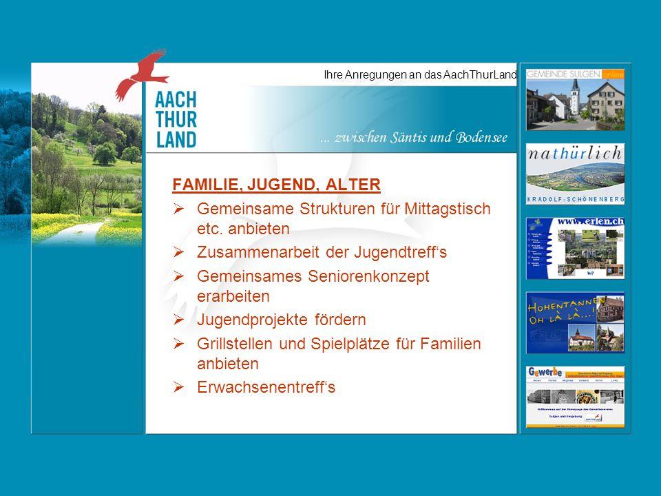 Ihre Anregungen an das AachThurLand FAMILIE, JUGEND, ALTER Gemeinsame Strukturen für Mittagstisch etc.