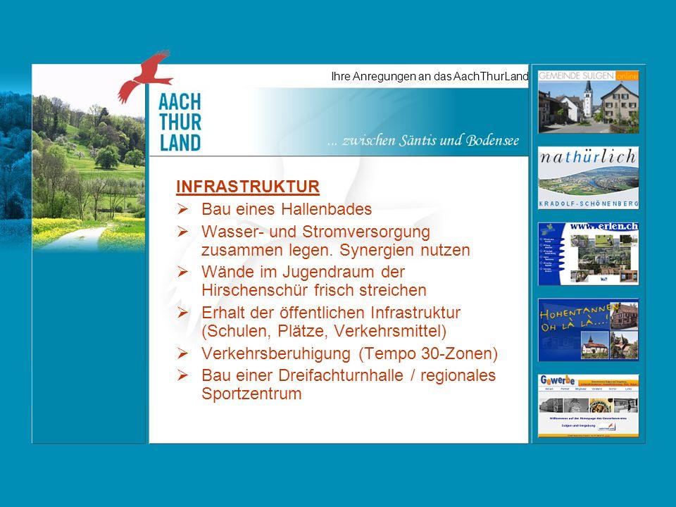 Ihre Anregungen an das AachThurLand INFRASTRUKTUR Bau eines Hallenbades Wasser- und Stromversorgung zusammen legen.