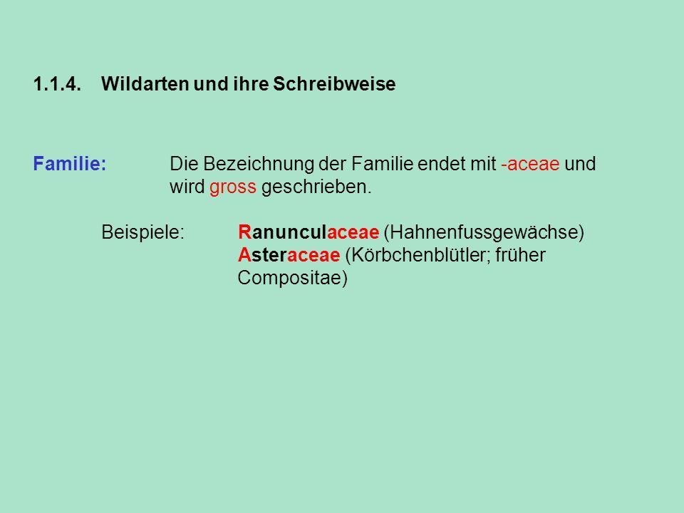 1.1.4. Wildarten und ihre Schreibweise Familie: Die Bezeichnung der Familie endet mit -aceae und wird gross geschrieben. Beispiele:Ranunculaceae (Hahn