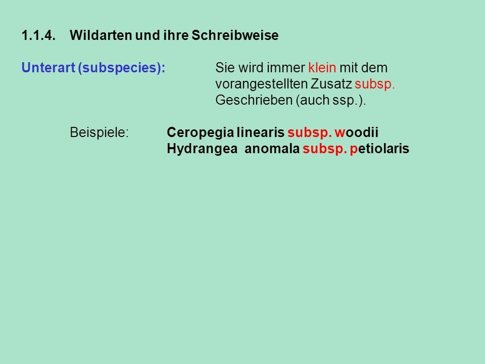 1.1.4. Wildarten und ihre Schreibweise Unterart (subspecies): Sie wird immer klein mit dem vorangestellten Zusatz subsp. Geschrieben (auch ssp.). Beis