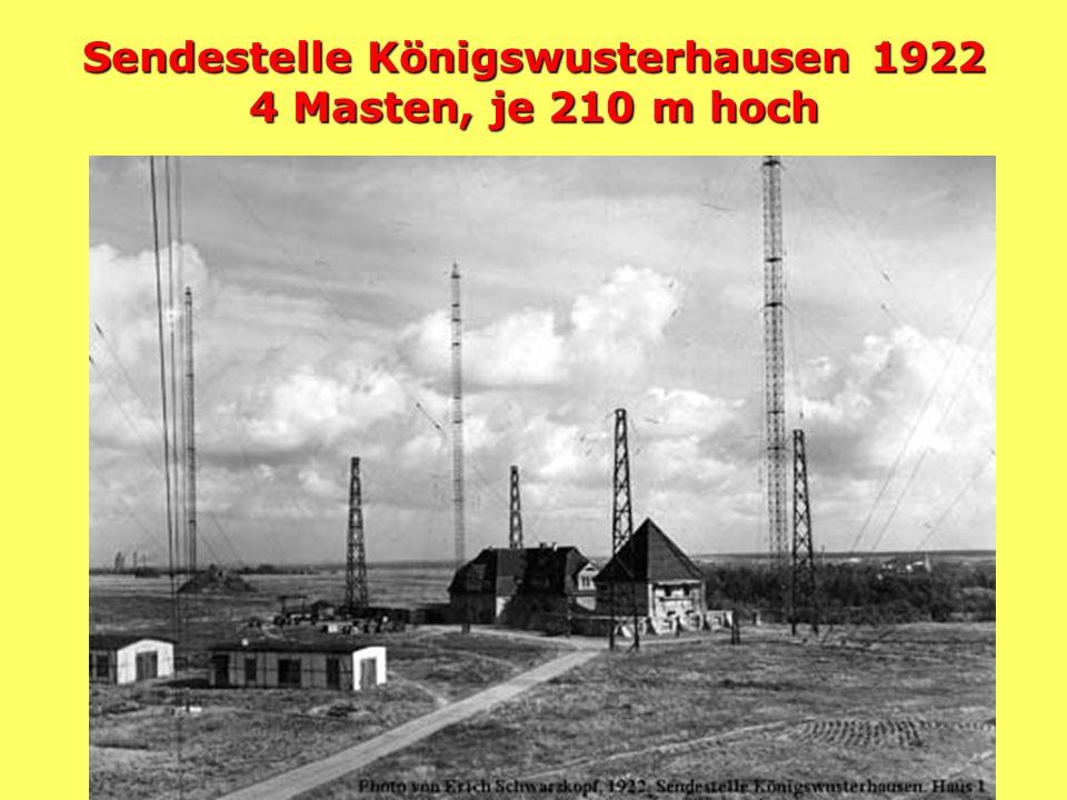 Weihnachtskonzert 22.12.1920 Sender Königs- wusterhausen auf 2700 m Angestellte der Reichspost mit Live-Konzert mit Zaungästen (Schwarzhörern)