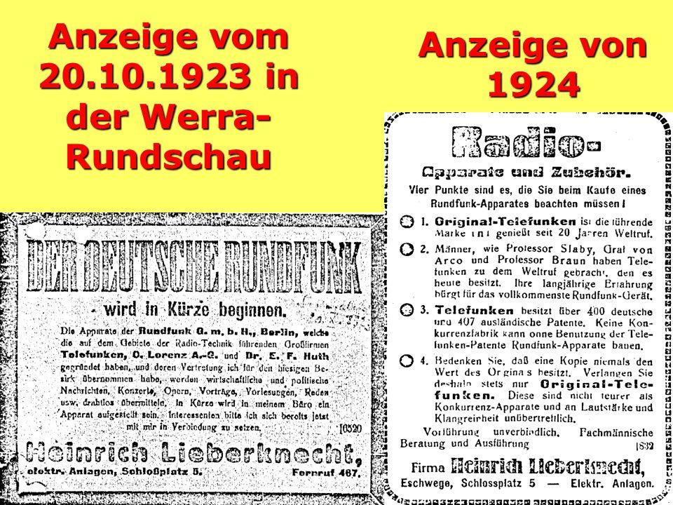 Anzeige vom 20.10.1923 in der Werra- Rundschau Anzeige von 1924