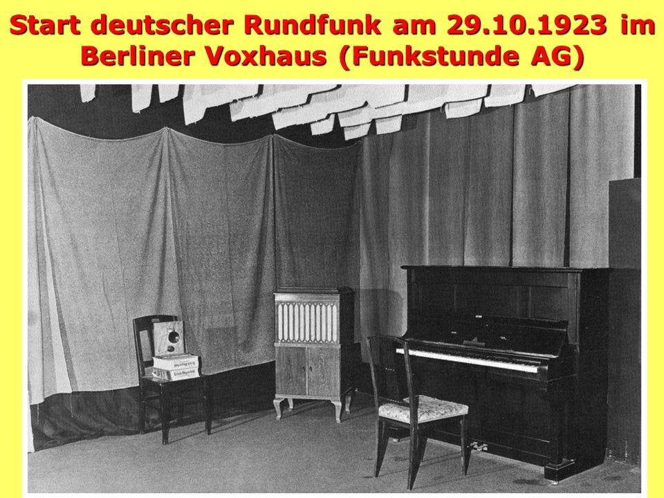 Start deutscher Rundfunk am 29.10.1923 im Berliner Voxhaus (Funkstunde AG)