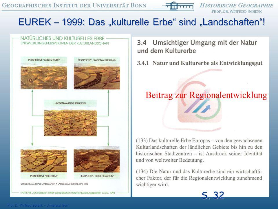 Prof.Dr. Winfried Schenk – Universität Bonn EUREK – 1999: Das kulturelle Erbe sind Landschaften.