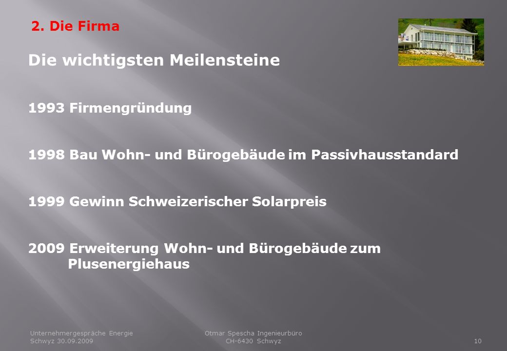 Unternehmergespräche Energie Schwyz 30.09.200910 Otmar Spescha Ingenieurbüro CH-6430 Schwyz 2. Die Firma Die wichtigsten Meilensteine 1993 Firmengründ