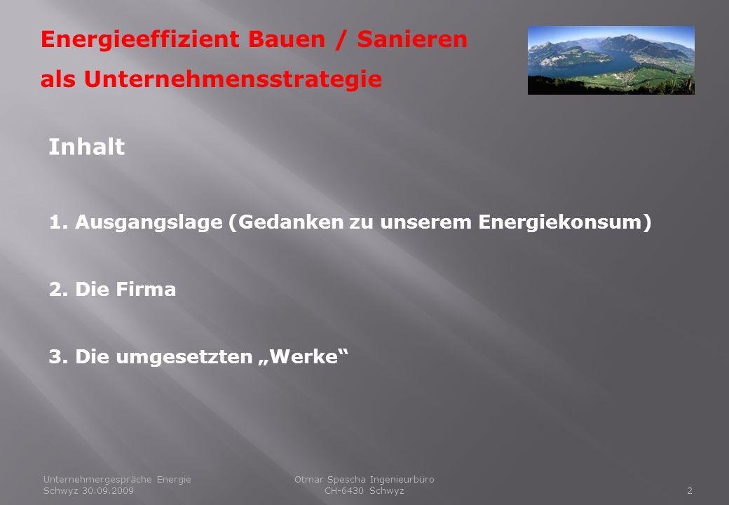 Unternehmergespräche Energie Schwyz 30.09.20092 Energieeffizient Bauen / Sanieren als Unternehmensstrategie Otmar Spescha Ingenieurbüro CH-6430 Schwyz