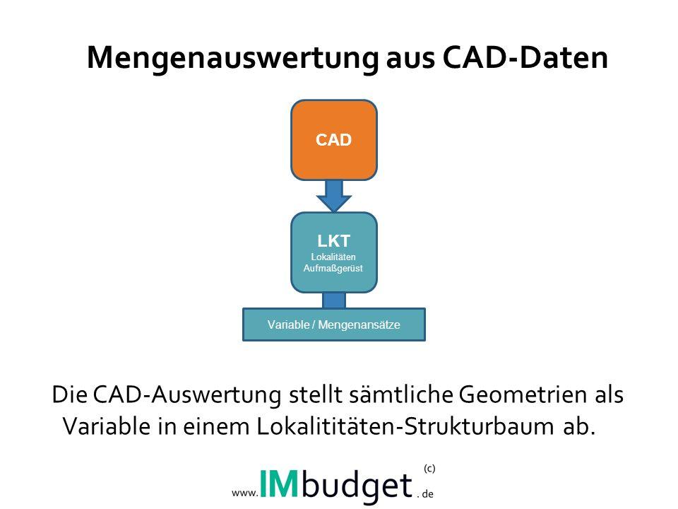 Mengenauswertung aus CAD-Daten Die CAD-Auswertung stellt sämtliche Geometrien als Variable in einem Lokalititäten-Strukturbaum ab.