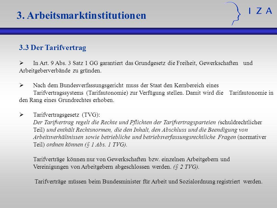 3.3 Der Tarifvertrag In Art. 9 Abs. 3 Satz 1 GG garantiert das Grundgesetz die Freiheit, Gewerkschaften und Arbeitgeberverbände zu gründen. Nach dem B