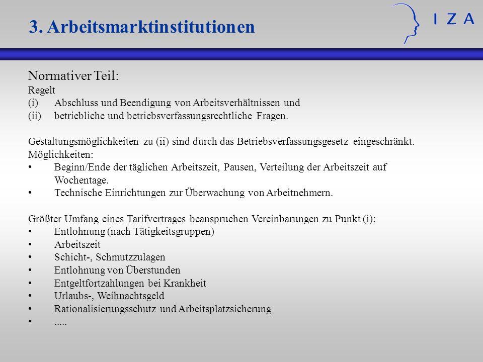 Normativer Teil: Regelt (i)Abschluss und Beendigung von Arbeitsverhältnissen und (ii)betriebliche und betriebsverfassungsrechtliche Fragen. Gestaltung
