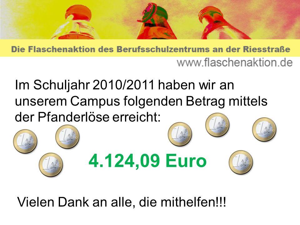 Im Schuljahr 2010/2011 haben wir an unserem Campus folgenden Betrag mittels der Pfanderlöse erreicht: 4.124,09 Euro Vielen Dank an alle, die mithelfen