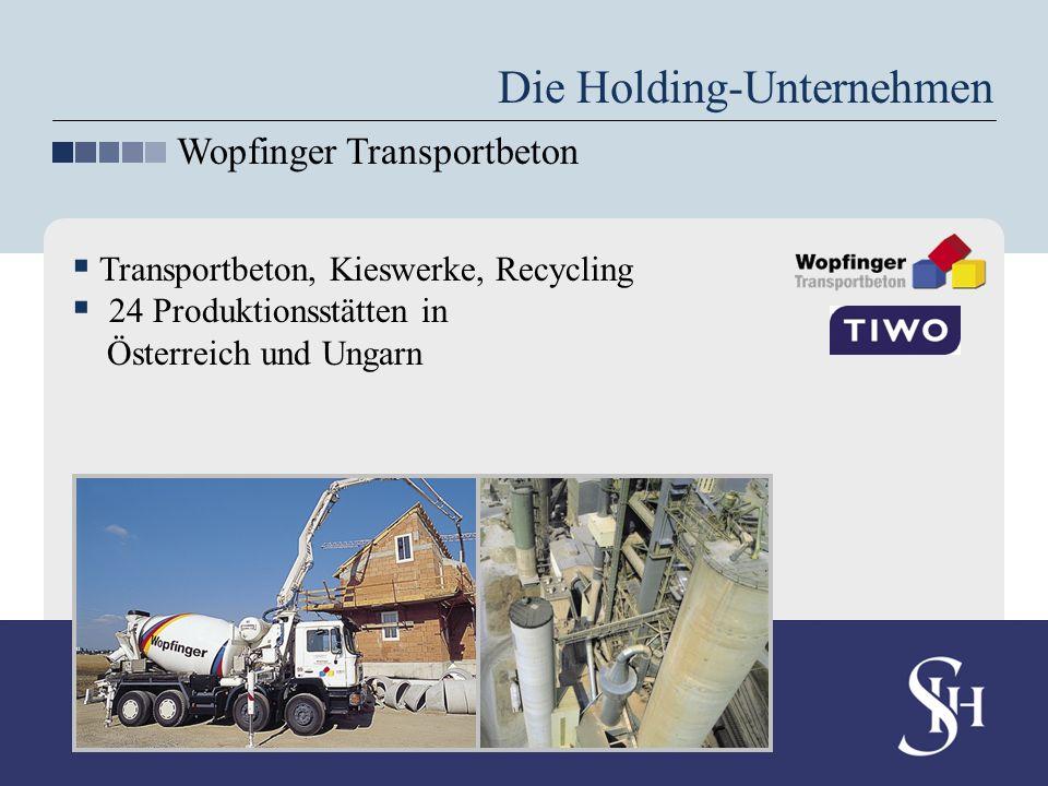 Die Holding-Unternehmen Wopfinger Transportbeton Transportbeton, Kieswerke, Recycling 24 Produktionsstätten in Österreich und Ungarn