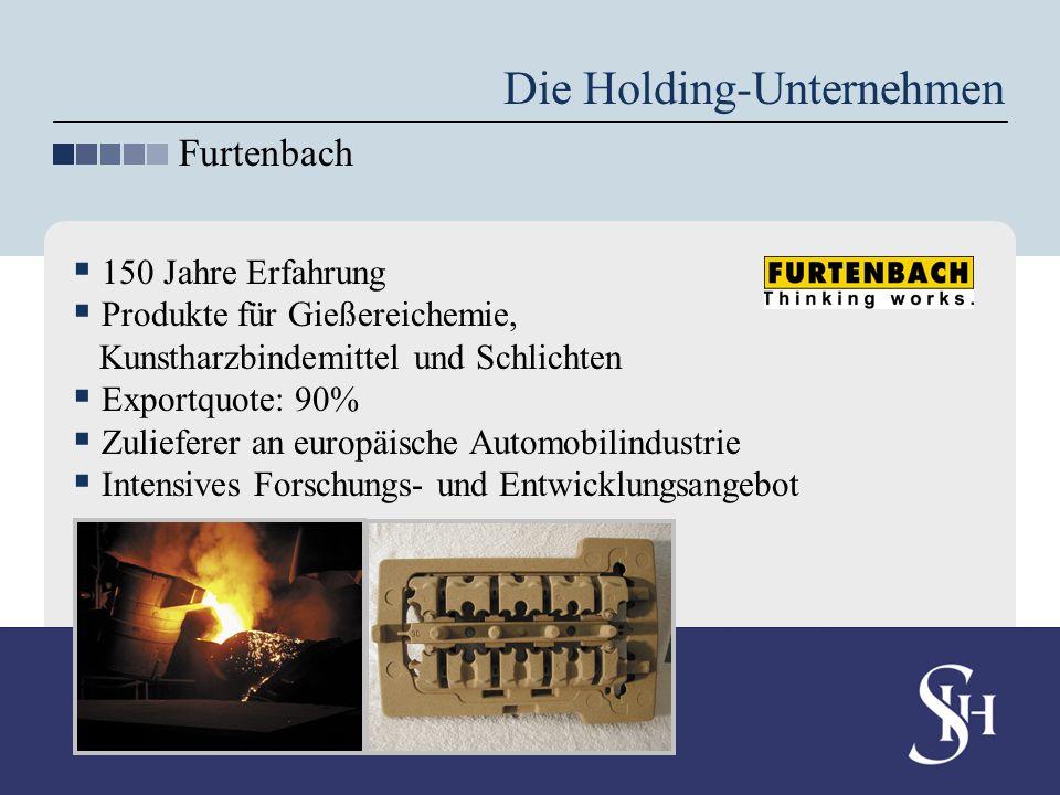 Die Holding-Unternehmen Furtenbach 150 Jahre Erfahrung Produkte für Gießereichemie, Kunstharzbindemittel und Schlichten Exportquote: 90% Zulieferer an