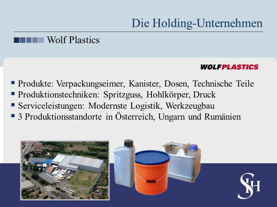 Die Holding-Unternehmen Wolf Plastics Produkte: Verpackungseimer, Kanister, Dosen, Technische Teile Produktionstechniken: Spritzguss, Hohlkörper, Druc