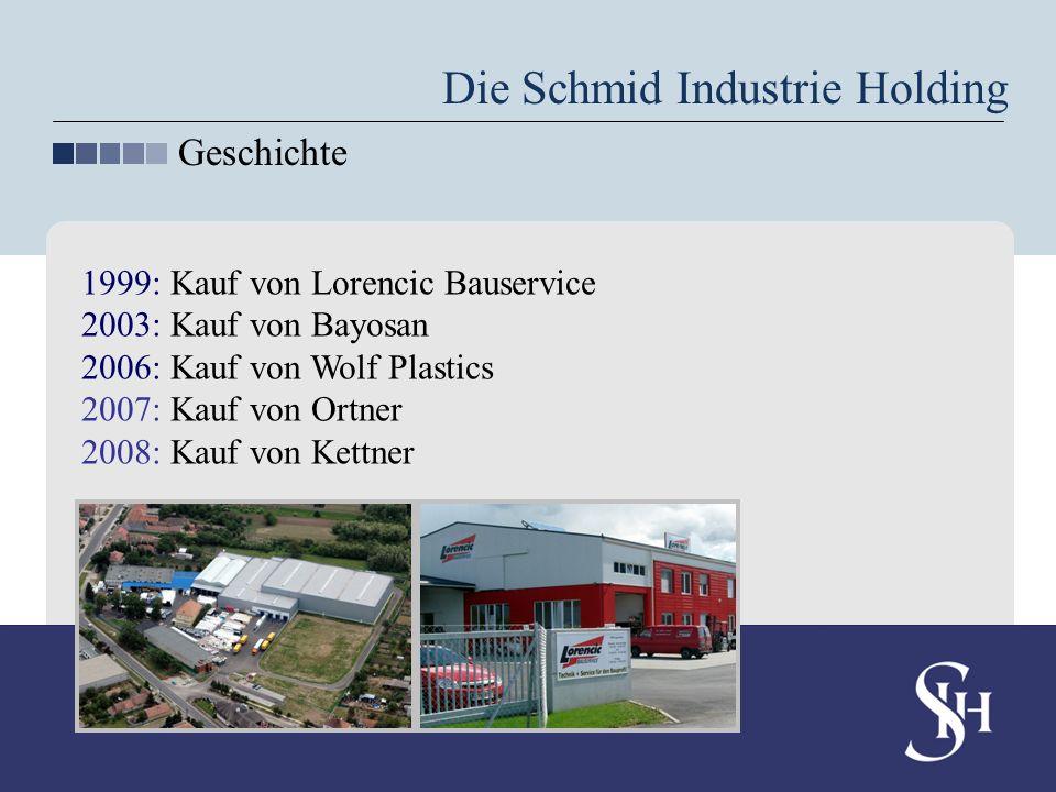 Die Schmid Industrie Holding Geschichte 1999: Kauf von Lorencic Bauservice 2003: Kauf von Bayosan 2006: Kauf von Wolf Plastics 2007: Kauf von Ortner 2