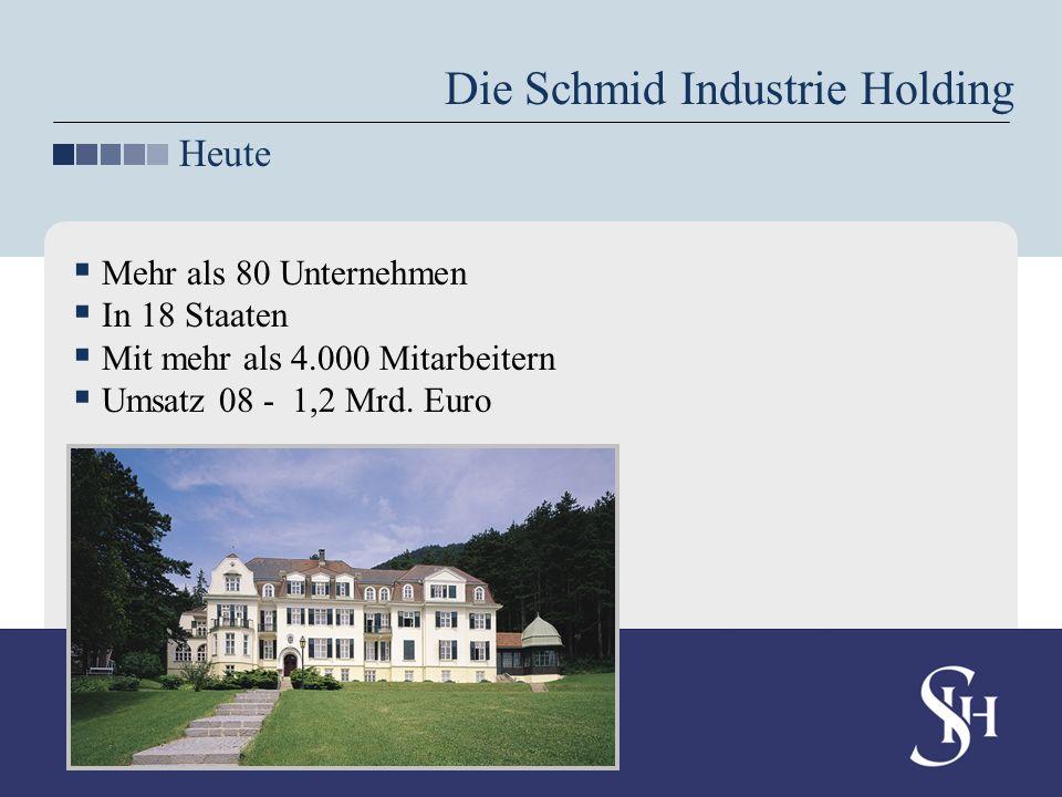 Mehr als 80 Unternehmen In 18 Staaten Mit mehr als 4.000 Mitarbeitern Umsatz 08 - 1,2 Mrd. Euro Die Schmid Industrie Holding Heute