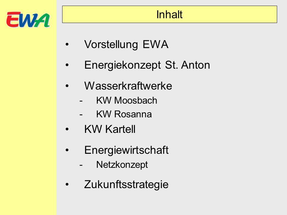 Inhalt Vorstellung EWA Energiekonzept St. Anton Wasserkraftwerke -KW Moosbach -KW Rosanna KW Kartell Energiewirtschaft -Netzkonzept Zukunftsstrategie