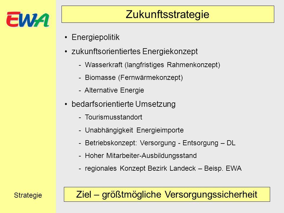 Zukunftsstrategie Energiepolitik zukunftsorientiertes Energiekonzept - Wasserkraft (langfristiges Rahmenkonzept) - Biomasse (Fernwärmekonzept) - Alter