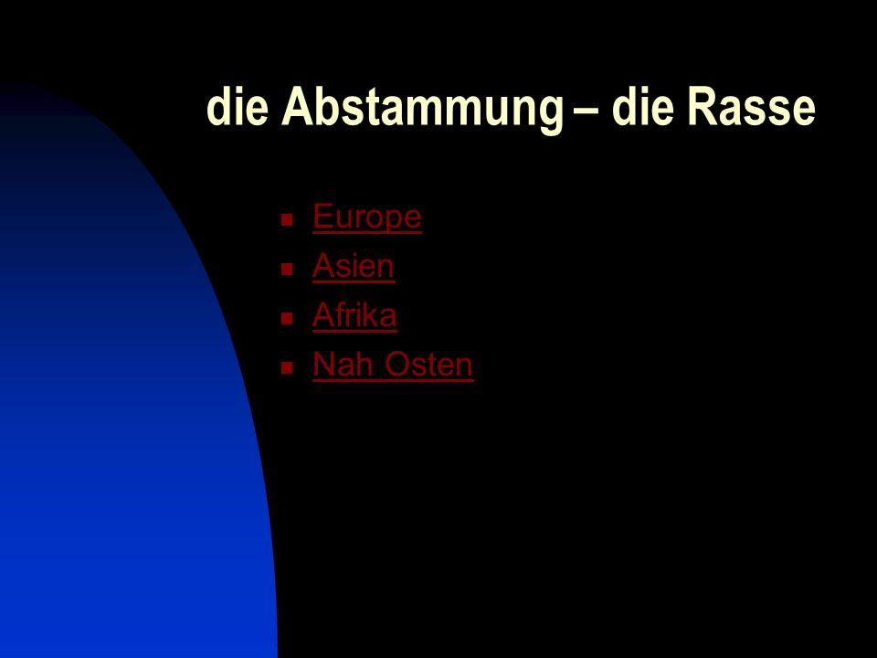 die Abstammung – die Rasse Europe Asien Afrika Nah Osten