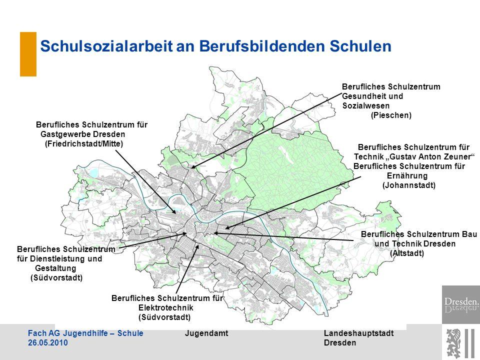 JugendamtLandeshauptstadt Dresden Fach AG Jugendhilfe – Schule 26.05.2010 Schulsozialarbeit an Berufsbildenden Schulen Berufliches Schulzentrum für Di