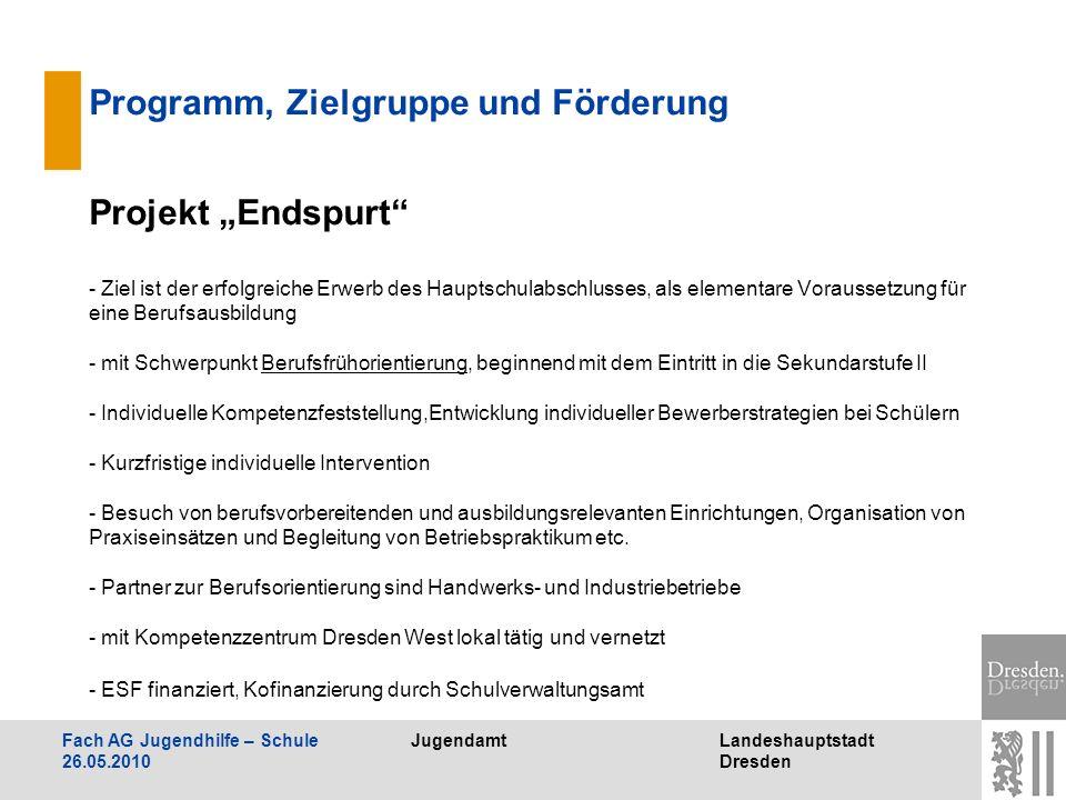 JugendamtLandeshauptstadt Dresden Fach AG Jugendhilfe – Schule 26.05.2010 Programm, Zielgruppe und Förderung Projekt Endspurt - Ziel ist der erfolgrei