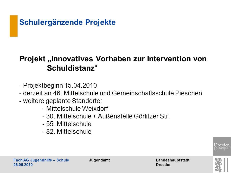 JugendamtLandeshauptstadt Dresden Fach AG Jugendhilfe – Schule 26.05.2010 Schulergänzende Projekte Projekt Innovatives Vorhaben zur Intervention von S