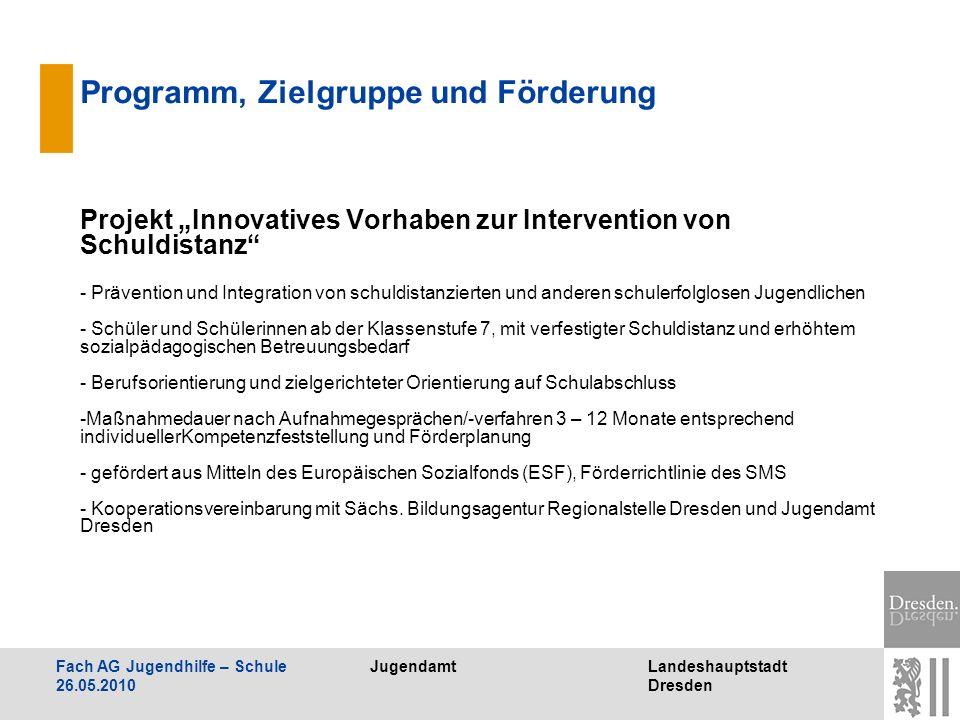 JugendamtLandeshauptstadt Dresden Fach AG Jugendhilfe – Schule 26.05.2010 Programm, Zielgruppe und Förderung Projekt Innovatives Vorhaben zur Interven
