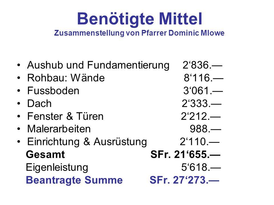 Benötigte Mittel Zusammenstellung von Pfarrer Dominic Mlowe Aushub und Fundamentierung 2836. Rohbau: Wände 8116. Fussboden 3061. Dach 2333. Fenster &
